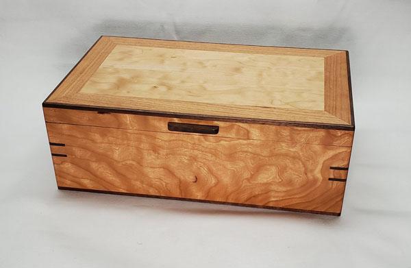 cherry, curly western maple and walnut keepsake box made on vancouver island