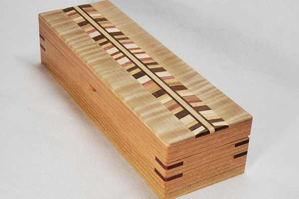 cherry and curly eastern maple chevron pen box made in Victoria on Vancouver Island Canada