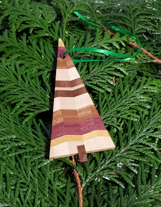 exotic wood tree ornament made on vancouver island
