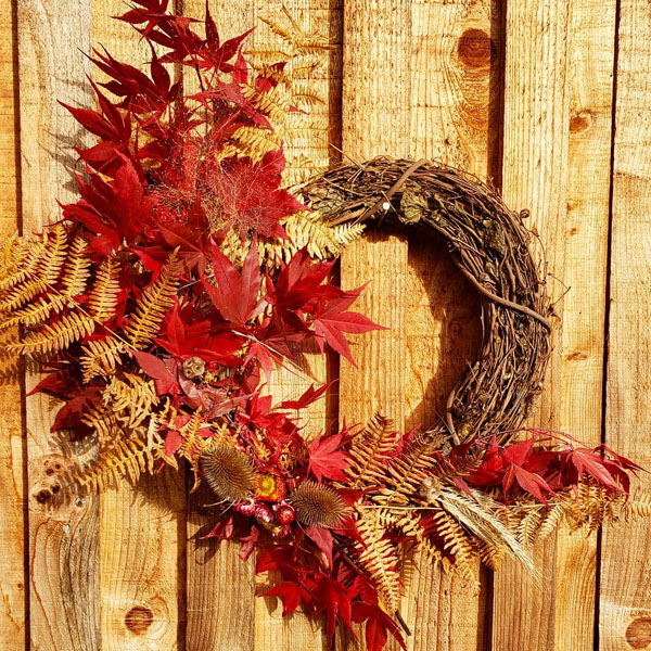 fall themed wreath made on Vancouver Island in Ladysmith by Nobul Farms