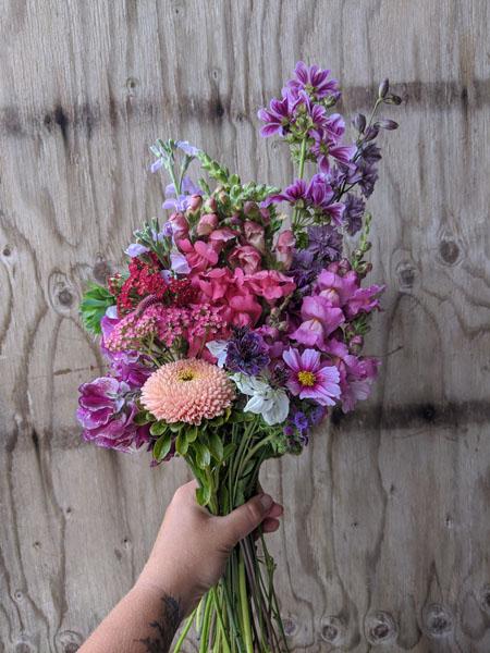 fresh cut floral bouquet subscription from Ladysmith Flower Farm Nobul Flora & Fauna central Vancouver Island