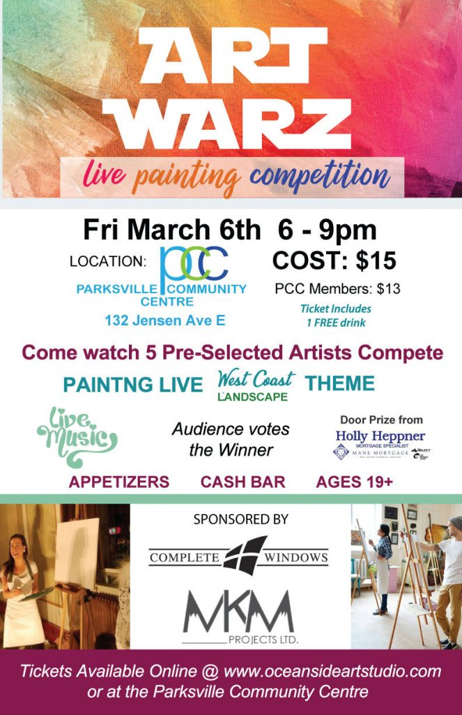 Art Warz poster, live painting competition in Qualicum Beach at Oceanside Art Studio
