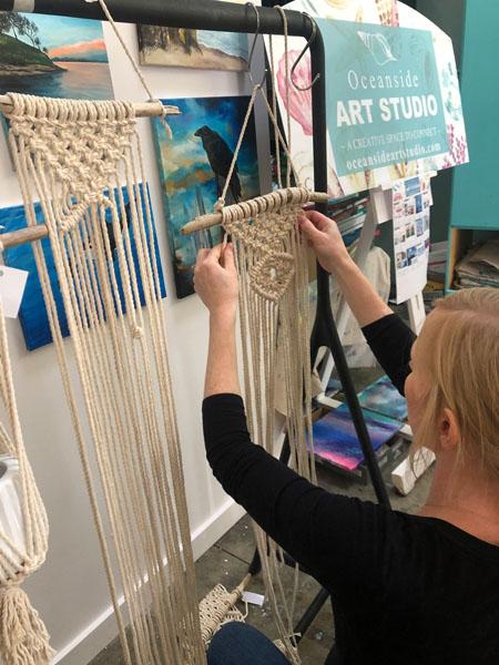 Macrame class/workshop in Qualicum Beach at Oceanside Art Studio