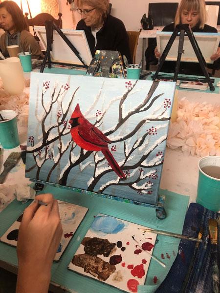 Picture of cardinal, paint class in Qualicum Beach held at Oceanside Art Studio