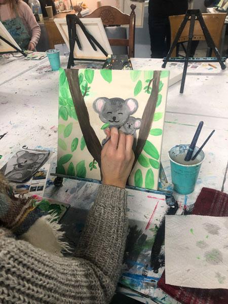 Picture of Koala, Qualicum Beach painting class at Oceanside Art Studio