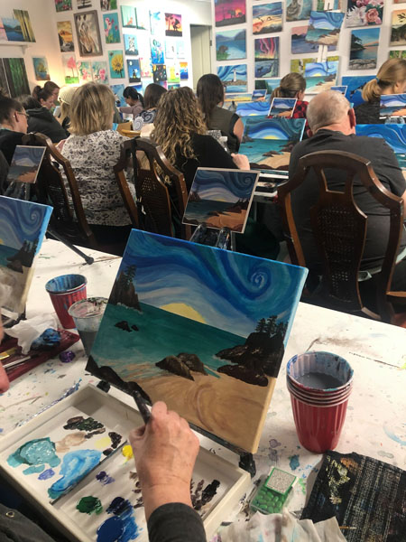 Picture of ocean and sunset, paint class in Qualicum Beach held at Oceanside Art Studio