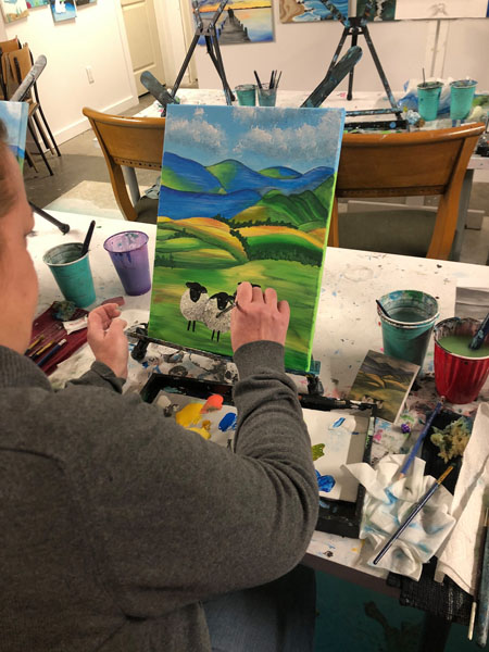 Picture of cows in field, Qualicum Beach painting lessons held at Oceanside Art Studio