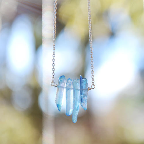 blue quartz necklace jewelry made in Parksville, Vancouver Island, Canada by Oh So Lovely