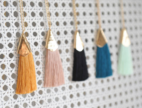 tassle necklace jewelry made in Parksville, Vancouver Island, Canada by Oh So Lovely