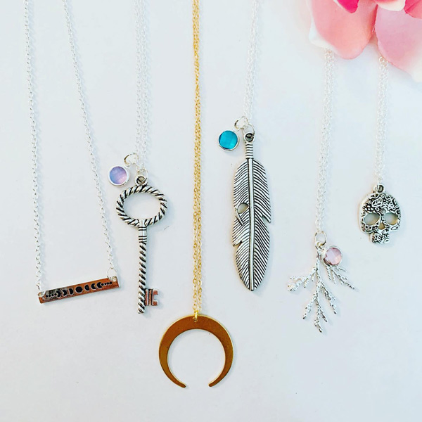 key, feather, branch, skull pendant necklaces, jewelry made on Vancouver Island by Oh So Lovelys