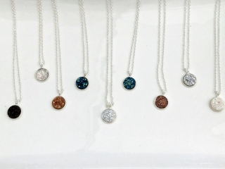 Collection of resin and glass pendant necklaces, Parksville made products, made by Oh So Lovely