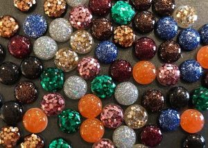 sparkly and colourful Canadian made earrings hand made on Vancouver Island by Put a Perron