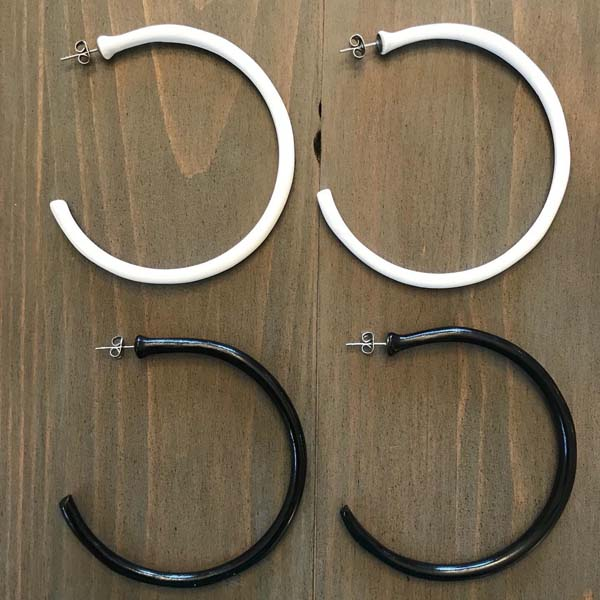 white and black 3/4 circle hoop earrings made in Canada on Vancouver Island by Put a Perron