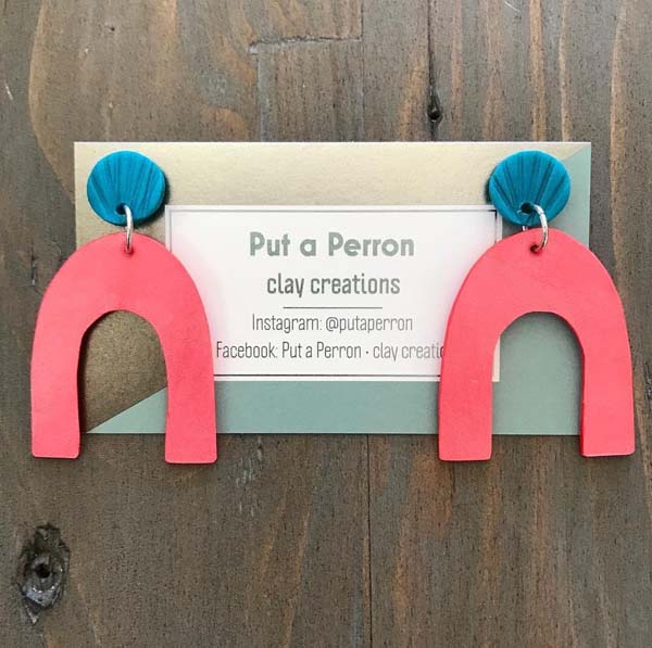 pin and blue horseshoe shaped earrings, handmade in Canada on Vancouver Island by Put a Perron