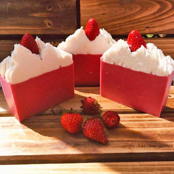 strawberry scented artisan soap made on Vancouver Island by Raven's Nest Soap Co.
