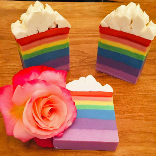 rainbow artisan handmade soaps, made on Vancouver Island in Parksville by Raven's Nest
