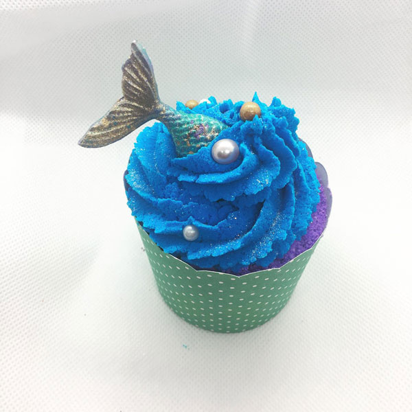 cupcake shaped bath mermaid bath bomb, handmade in Parksville on Vancouver Island by Raven's Nest