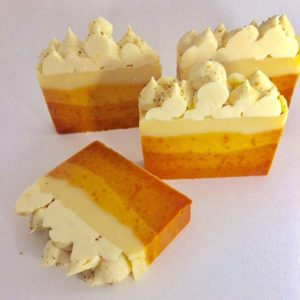 Vancouver Island made natural soap, layers of yellow and oranges