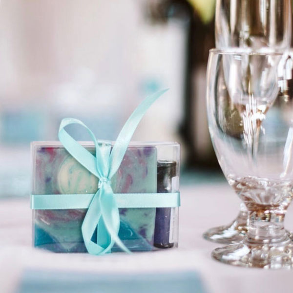personalized wedding favours of soap, handmade on Vancouver Island by Ravensong Soap