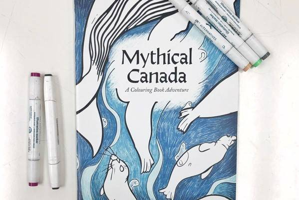 Mythical Canada, colouring book, made on Vancouver Island, Canada by VIU Graphic Design