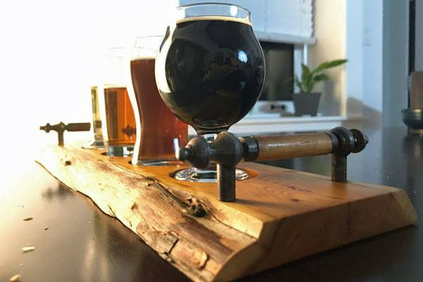 handmade wooden beer flight tray made on Vancouver Island by woodworker Longview Woodworks