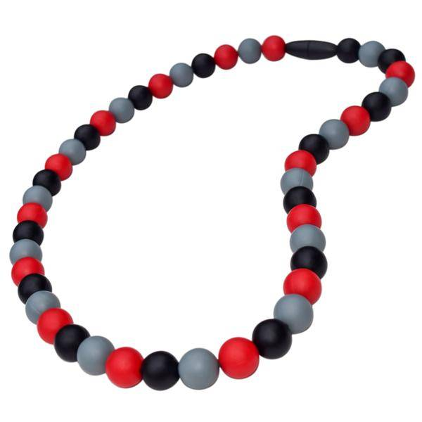 Red, grey, and black silicone chewing necklace for kids, product from Munchables on Vancouver Island