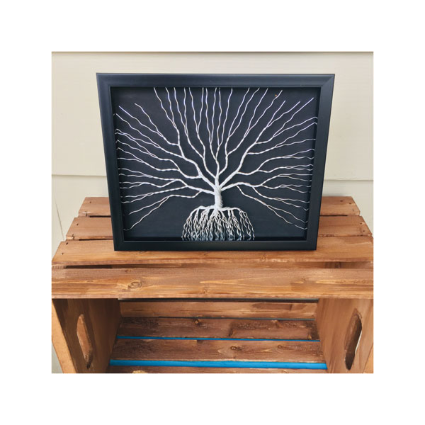 silver and black wire metal art, created in Nanaimo, Canada by Rocklan Art