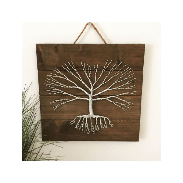 silver metal wire art tree of life, Vancouver Island made product by Rocklan Art