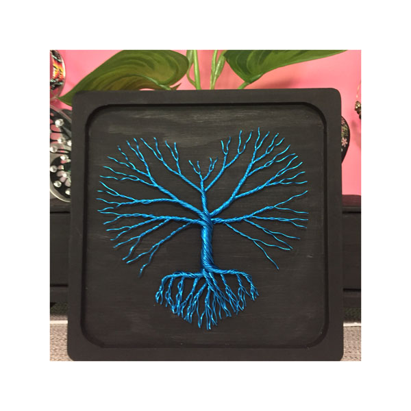 blue and black tree of life wire art made in Nanaimo on Vancouver Island by Rocklan Art