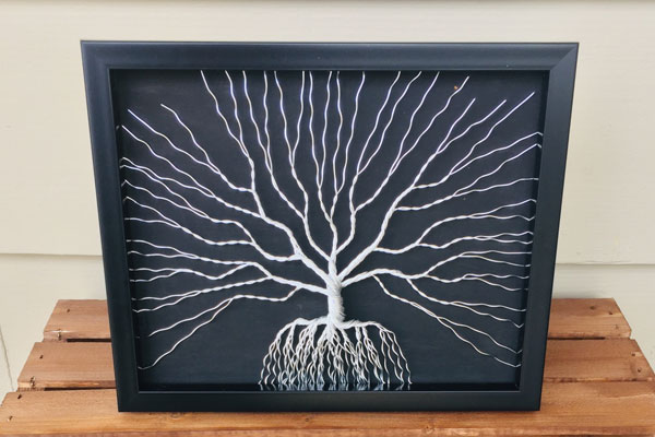 silver and black wire metal art, Canadian made product from Nanaimo, B.C.