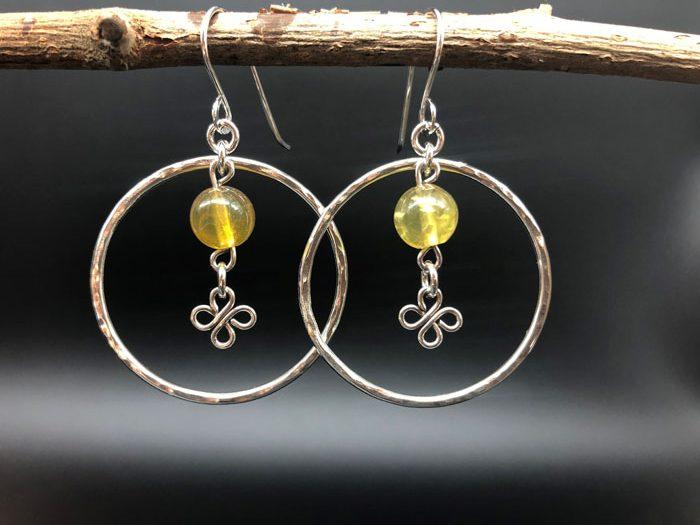 yellow stone hoop earrings earrings made on vancouver island by sage under the moon errington