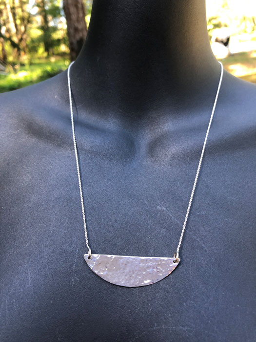 silver hammered necklace earrings made on vancouver island by sage under the moon errington