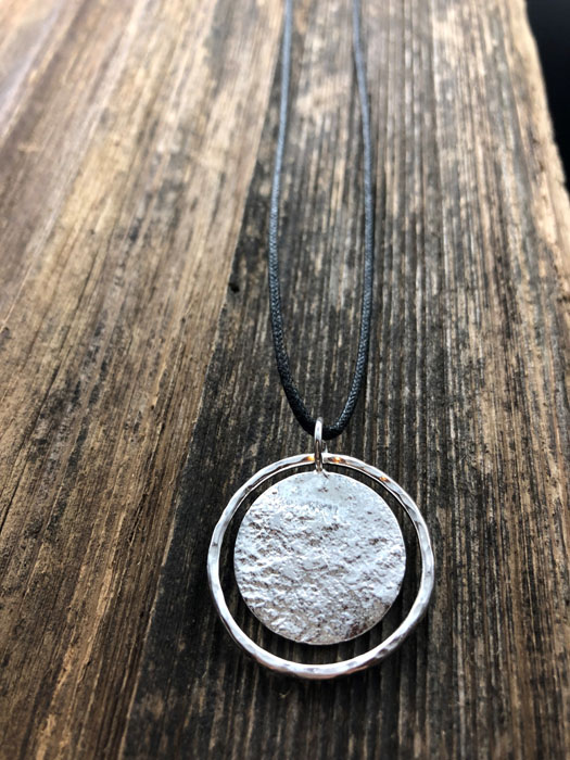 silver hammered necklace, jewelry made in Errington on Vancouver Island Canada by Sage under the moon