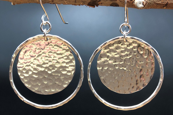 hammered recycled silver earrings