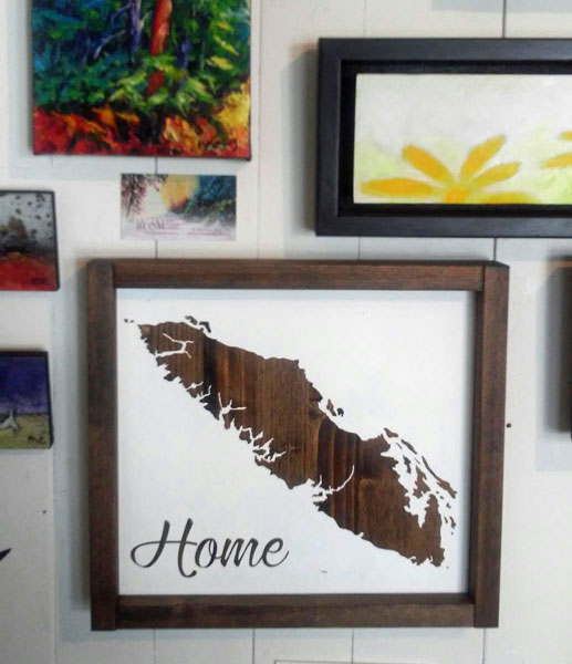 local art Vancouver Island silhouette in Qualicum Beach gift shop Sea Thrift