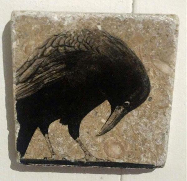 local art, image of crow, sold in Qualicum Beach art gallery Sea Thrift