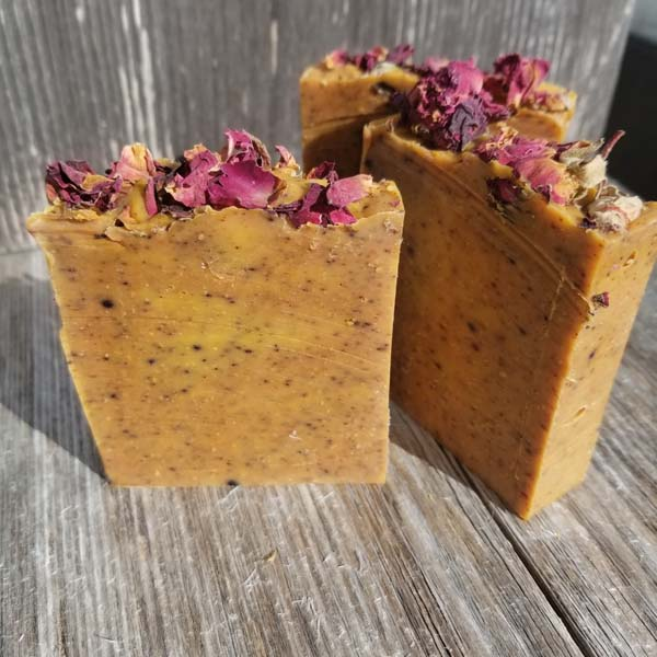 all natural cold pressed rose scented soap with flower petals, handmade on Vancouver Island by Seabreeze Crafts
