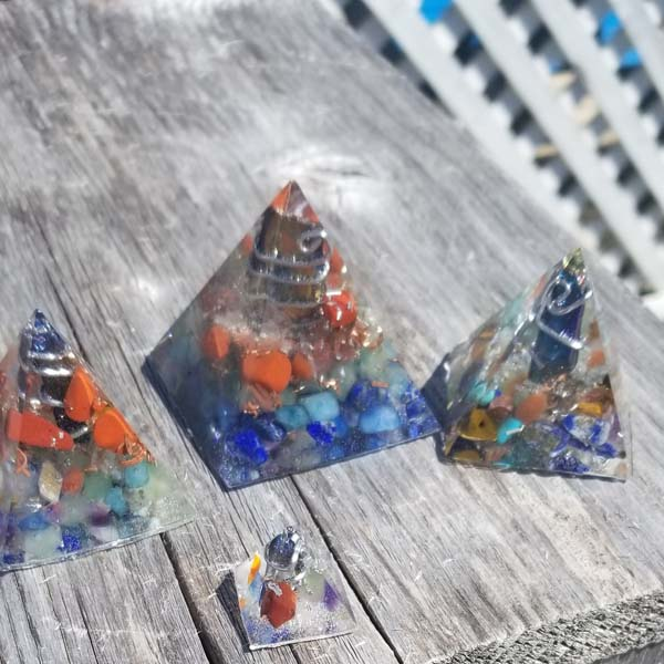 Chakra pyramids filled with stones, handmade on Vancouver Island by Seabreeze Crafts