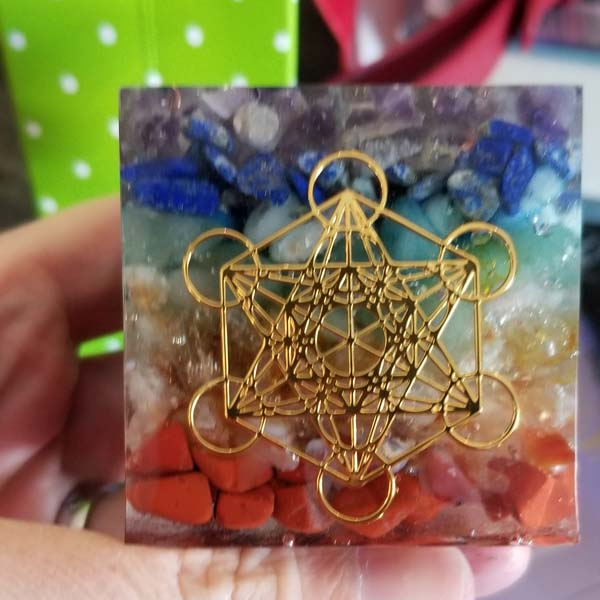 Metatron's cube with Carnelian, red agate, citrine, aventurine, turquoise, lapis lazuli, amethyst, handmade resin product from Vancouver Island