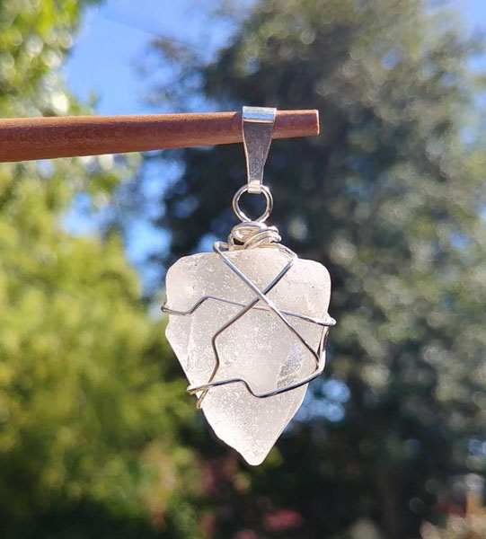 white seaglass wire wrapped pendant made on Pender Island by Shoreline Secrets