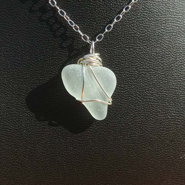 white seaglass necklace, made on Vancouver Island in Victoria