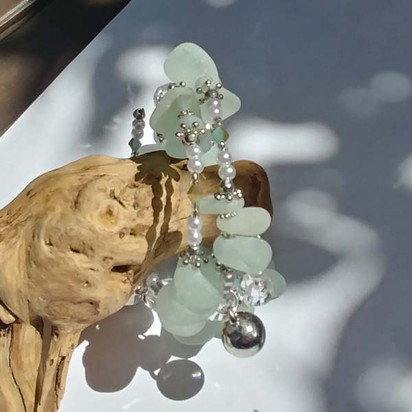 white seaglass bracelet, made on Vancouver Island in Victoria
