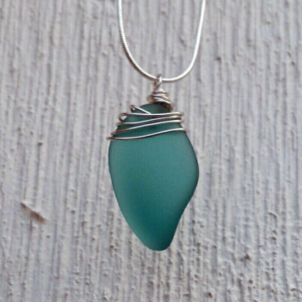 green seaglass necklace jewelry, product made on Vancouver Island in Victoria