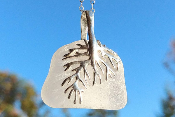 white seaglass necklace jewelry, Vancouver Island made product from Victoria