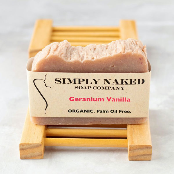 all natural organic palm oil free Geranium Soap, made on Vancouver Island by Simply Naked Soap