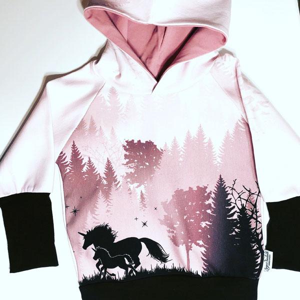 unicorn print grow along hoodie made on Vancouver Island