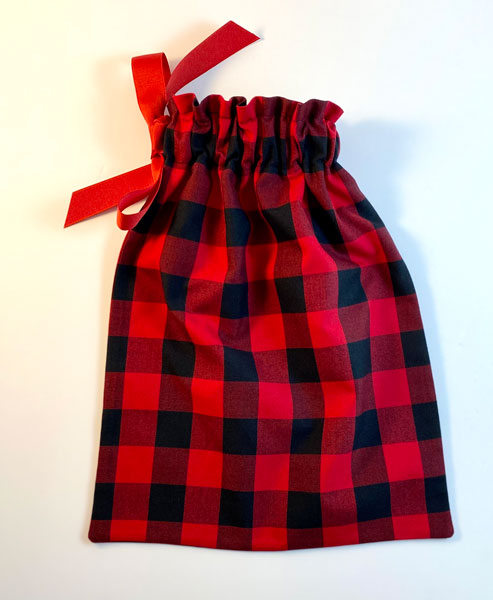 reusable plaid gift bag made on vancouver island in victoria