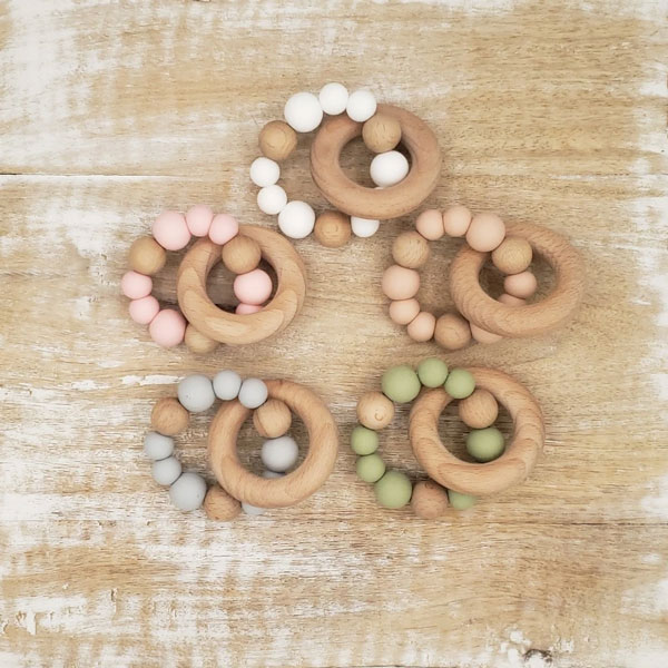 wooden teether stocking stuffers for babies made on Vancouver Island