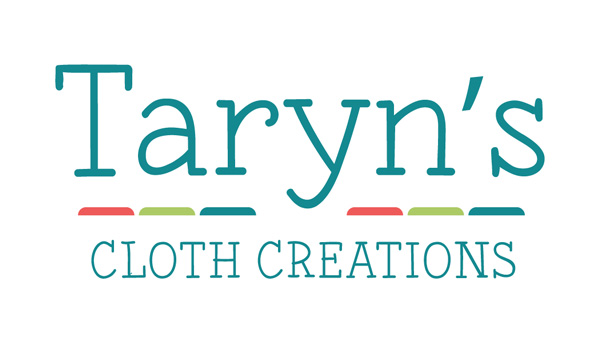 Taryn's Cloth Creations logo. Reusable bags made on Vancouver Island in Nanaimo
