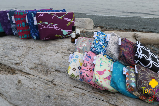 Assortment of essential oil bags handmade on Vancouver Island